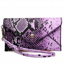 E0501 - Miss Lulu Small Snakeskin Pattern Envelope Purse Clutch Purple