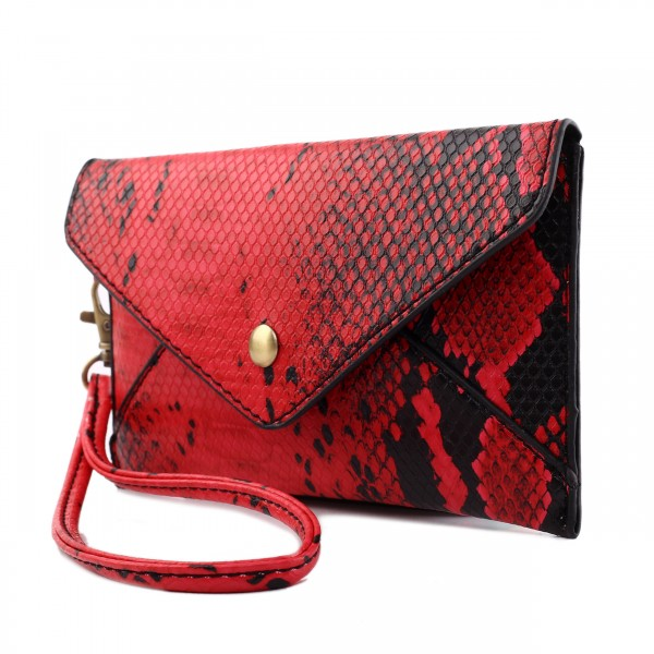 ecfb5844c1083 E0501 - Miss Lulu Small Snakeskin Pattern Envelope Purse Clutch Red