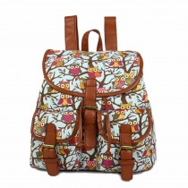 E1103W - Miss Lulu Flapover Backpack Owl Blue