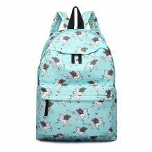 E1401 UN - Fräulein Lulu Large Backpack Unicorn Print Blue