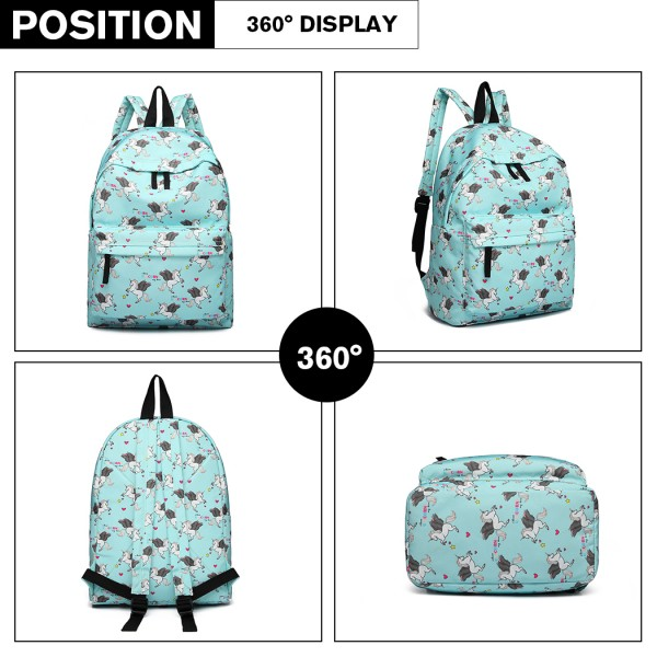 E1401 UN - Miss Lulu Large Backpack Unicorn Print - Blue