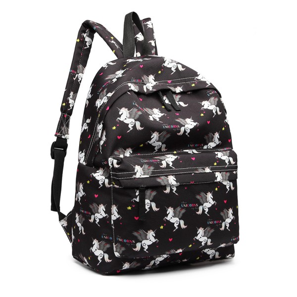 E1401 UN - Miss Lulu Large Backpack Unicorn Print - Black