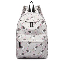 E1401 UN --Miss Lulu Large Backpack Unicorn Print --Grey