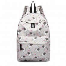 E1401 UN - Miss Lulu Large Backpack Unicorn Print Gray
