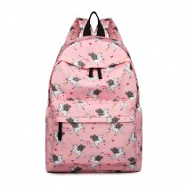 E1401 UN --Miss Lulu Large Backpack Unicorn Print --Pink