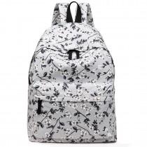 E1401-16F - Miss Lulu Large Backpack Flower Print Grey