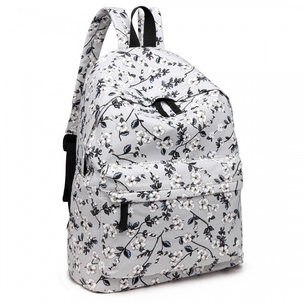 E1401-16F - Miss Lulu Large Backpack Flower Print Grey
