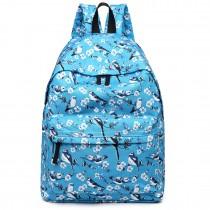 E1401-16J - Miss Lulu Large Backpack Bird Print Blue