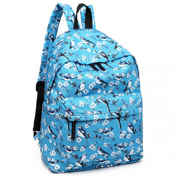 E1401-16J - Miss Lulu Large Backpack Bird Print Blue