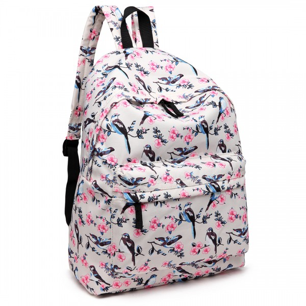 E1401-16J - Miss Lulu Large Backpack Bird Print Beige