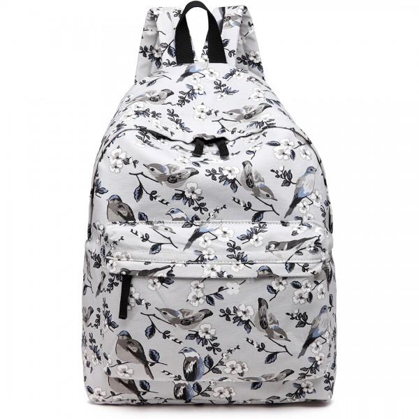 E1401-16J - Miss Lulu Large Backpack Bird Print Grey