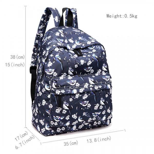 E1401-16J - Miss Lulu Large Backpack Bird Print Navy