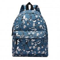 E1401-16J - Miss Lulu Large Backpack Bird Print Dark Blue