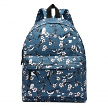 E1401-16J - Miss Lulu Large Backpack Bird Print Dark Blue