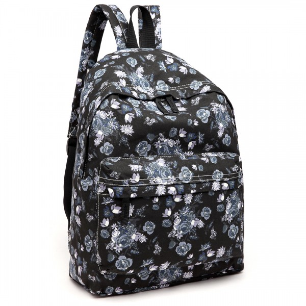E1401-16ROSE - Miss Lulu Large Backpack Rose Print Black