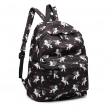 E1401 UN - Fräulein Lulu Large Backpack Unicorn Print Black