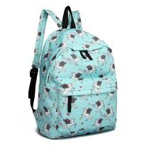 E1401 UN - Grand sac à dos imprimé licorne Miss Lulu - Bleu
