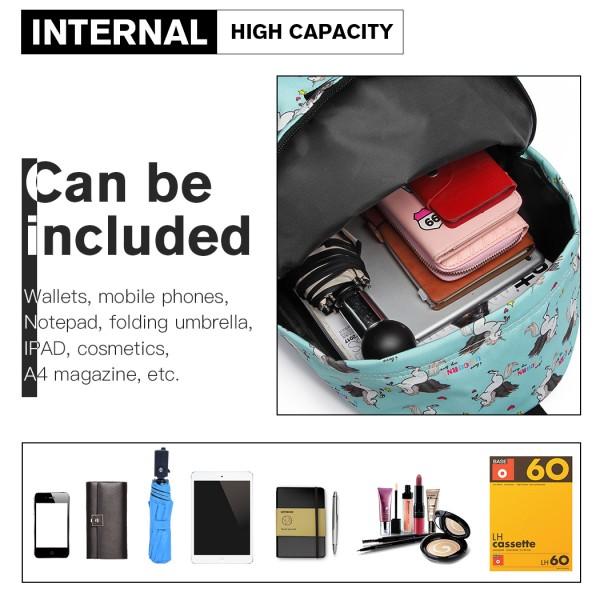 E1401 UN - Miss Lulu Large Backpack Unicorn Print - Blue