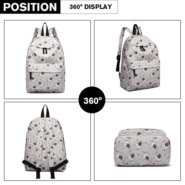 E1401 UN - Miss Lulu Large Backpack Unicorn Print - Grey