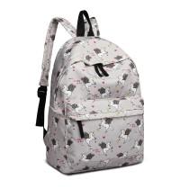 E1401 UN - Grand sac à dos imprimé licorne Miss Lulu - Gris