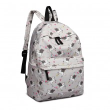 E1401 UN - Fräulein Lulu Large Backpack Unicorn Print Grey