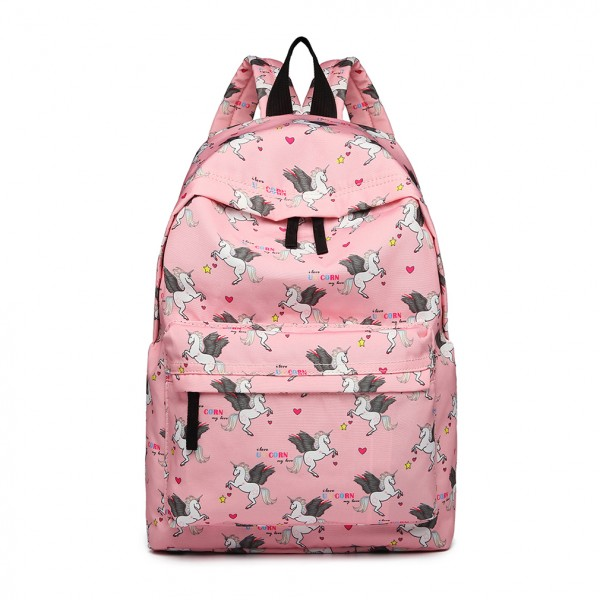 E1401 UN - Miss Lulu Large Backpack Unicorn Print - Pink