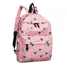 E1401 UN - Fräulein Lulu Large Backpack Unicorn Print Pink
