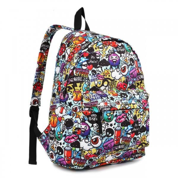 E1401CG - Miss Lulu Large Backpack Cartoon Graffiti
