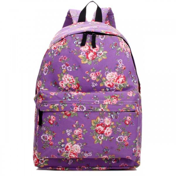 E1401MF - Miss Lulu Large Backpack Flower Purple
