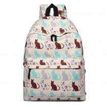 E1401CT - Miss Lulu Large Backpack Cat Beige