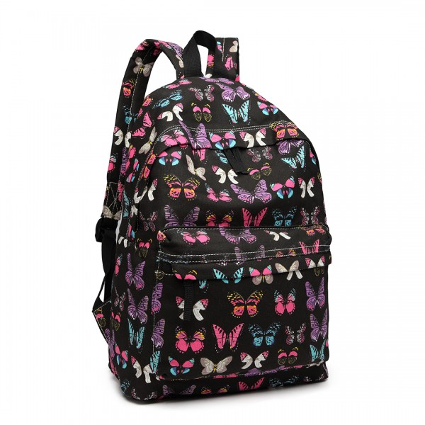 E1401B - Miss Lulu Large Backpack Butterfly Black