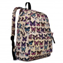 E1401B - Miss Lulu Large Backpack Butterfly Beige