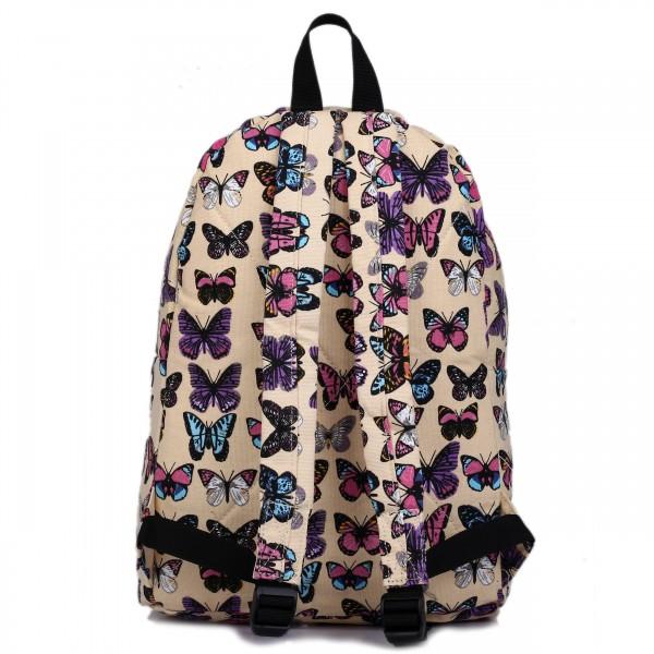 E1401B - Miss Lulu Large Backpack Butterfly Beige