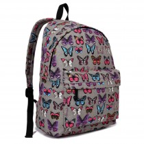 E1401B - Miss Lulu Large Backpack Butterfly Grey