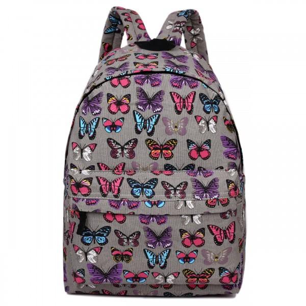 E1401B - Miss Lulu Large Backpack Butterfly Grey