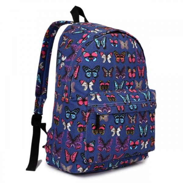 E1401B - Miss Lulu Large Backpack Butterfly Navy