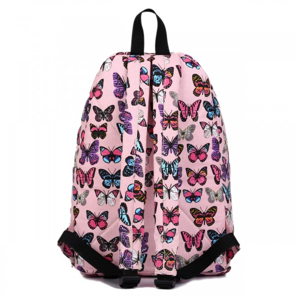 E1401B - Miss Lulu Large Backpack Butterfly Pink
