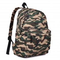 E1401C - Miss Lulu Large Backpack Camo Khaki