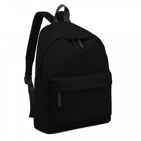 E1401 - Miss Lulu Large Plain Unisex Backpack Black