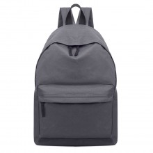 E1401 - Miss Lulu Large Plain Unisex Backpack Grey