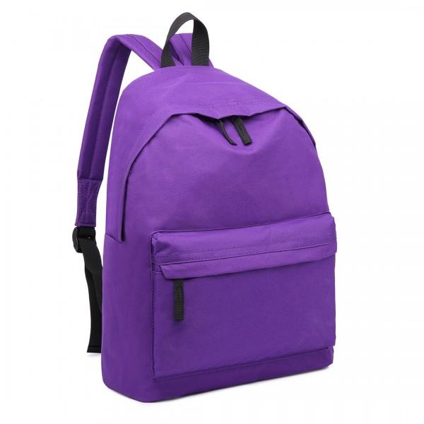 E1401 - Miss Lulu Large Plain Unisex Backpack Purple