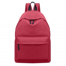 E1401 - Miss Lulu Large Plain Unisex Backpack Dark Red