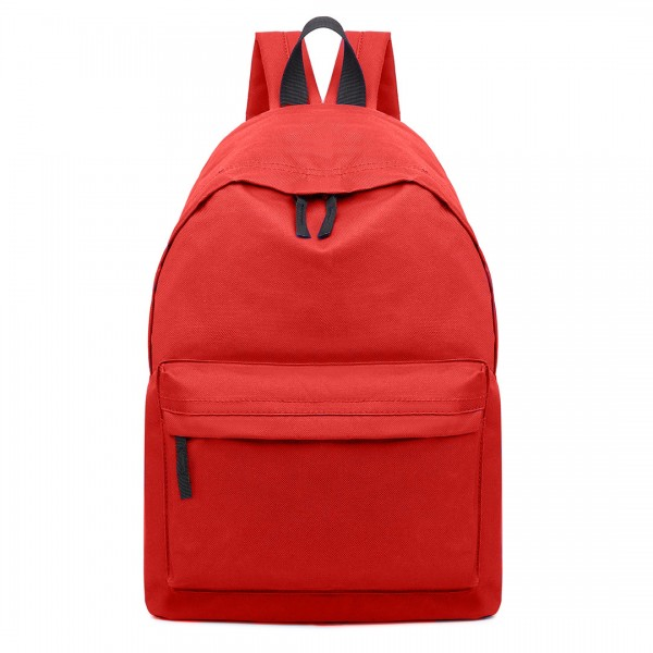 E1401 - Miss Lulu Large Plain Unisex Backpack Red
