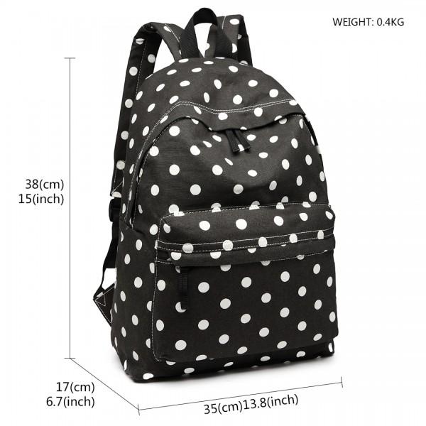 E1401D2 - Miss Lulu Large Backpack Polka Dot Black