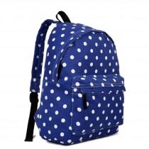 E1401D2 - Miss Lulu Large Backpack Polka Dot Navy