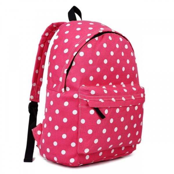 E1401D2 - Miss Lulu Large Backpack Polka Dot Plum