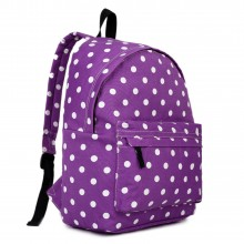 E1401D2 - Miss Lulu Large Backpack Polka Dot Purple