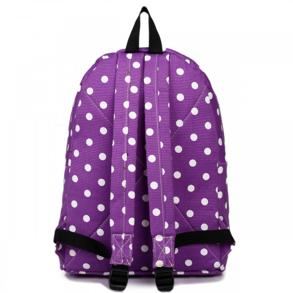E1401D2 - Miss Lulu Large Backpack Polka Dot Purple