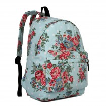 E1401F - Miss Lulu Large Backpack Flower Polka Dot Light Blue