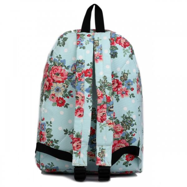 E1401F - Miss Lulu Large Backpack Flower Polka Dot Light Blue